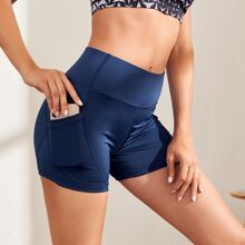 Wide Waistband Sports Shorts With Phone Pocket