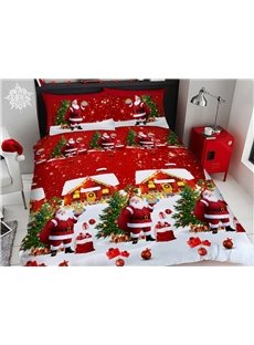 Santa Claus and Pine Trees Christmas Duvet Cover Set 3D Printed 4-Piece Red Bedding Sets