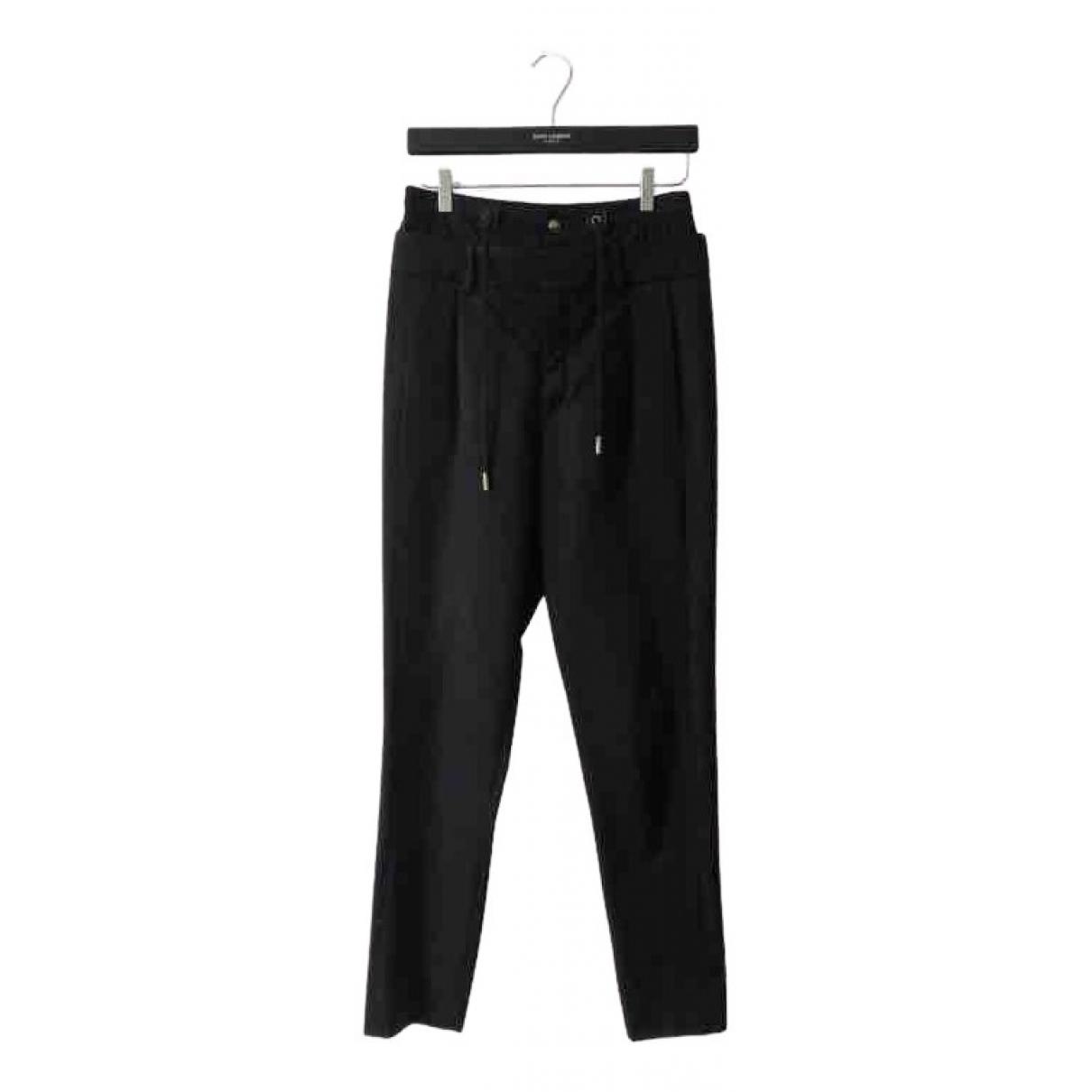 Saint Laurent N Black Cotton Trousers for Women 38 FR