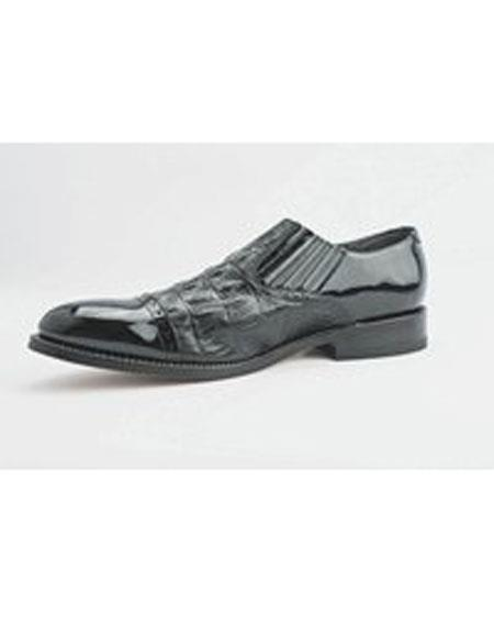 Men's Slip On Black Leather Cushion Insole Shoes
