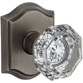 Baldwin PV.CRY.TAR Crystal Privacy Door Knob Set with Traditional Arch (Matte Antique Nickel)