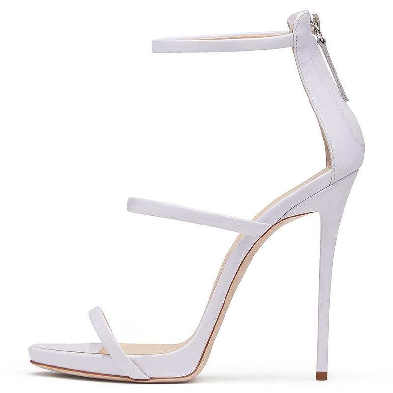 Ericdress Peep Toe Zipper Back Plain Stiletto Sandals