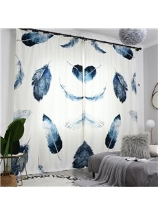 3D Concise Style Blue and Black Feathers Painted Custom Semi-blackout Curtains