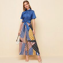 Collared Buttoned Front Tie Front Wide Leg Striped Jumpsuit