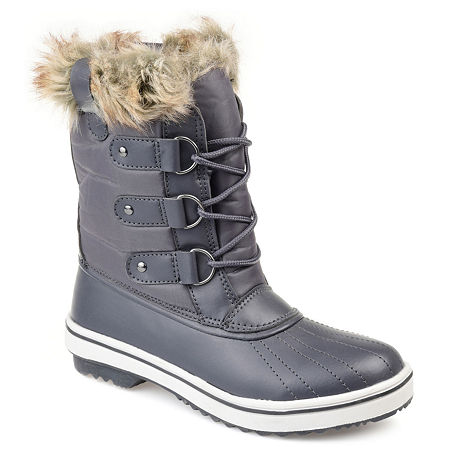 Journee Collection Womens North Water Resistant Block Heel Lace-up Snow Boots, 6 Medium, Gray