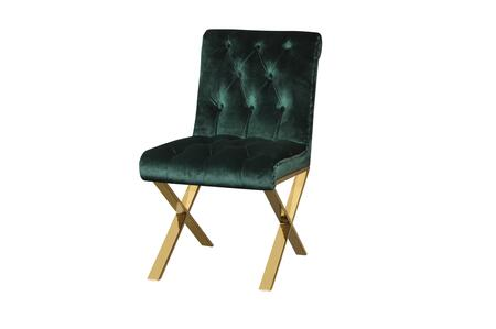 BM191607 Velvet Upholstered Dining Side Chairs with Steel X Style Legs  Green and Gold  Set of