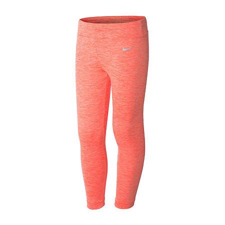 Nike Little Girls Full Length Leggings, 5 , Orange