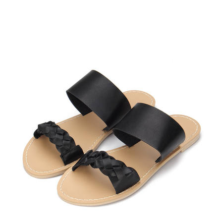 Yoins Black Leather Look Strap Flat Slippers With Woven Strap