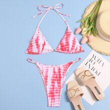 Dreieckiger Bikini Badeanzug mit Batik