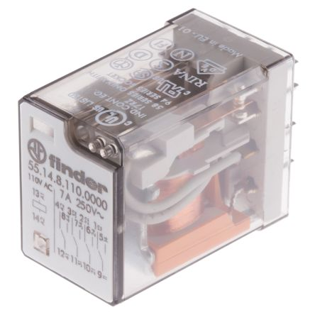 Finder , 110V ac Coil Non-Latching Relay 4PDT, 7A Switching Current PCB Mount, 4 Pole