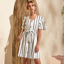 Stripe Print Button Front Belted Dress