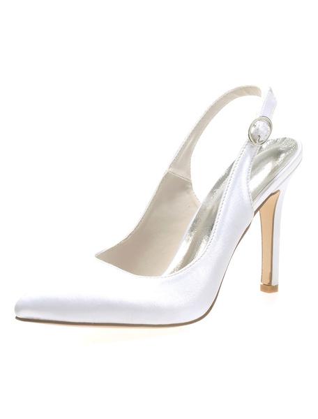 Milanoo Zapatos de novia de saten Zapatos de Fiesta de tacon de stiletto Zapatos Morado Zapatos de boda de puntera puntiaguada 10cm