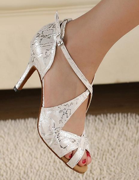 Milanoo Silver Peep Toe Metallic Criss-Cross Silk And Satin Stylish Latin Shoes