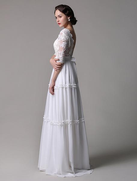 Milanoo Boho Wedding Dress Vintage A-Line Lace Chiffon Half Sleeves V-neck Backless Boho Wedding Dress