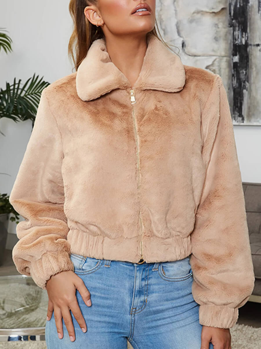 LW Lovely Casual Turndown Collar Zipper Design Coffee Faux Fur