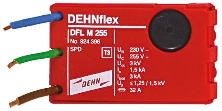 Dehn DFL Series 255 V ac Maximum Voltage Rating 3kA Maximum Surge Current Surge Arrester, Flush Mount Mounting