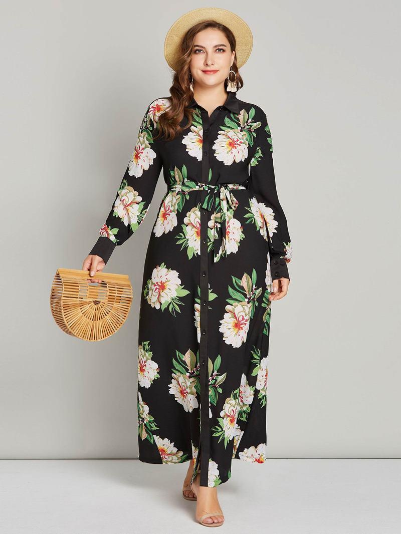 Ericdress Plus Size Print Long Sleeve Lapel Floral Dress