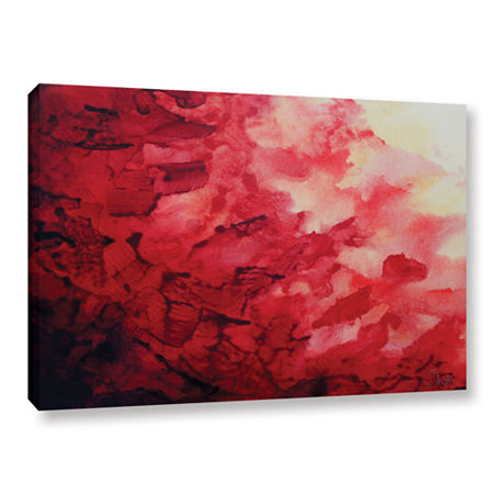 Brushstone Red Watery Abstract Gallery Wrapped Canvas Wall Art, One Size , Red