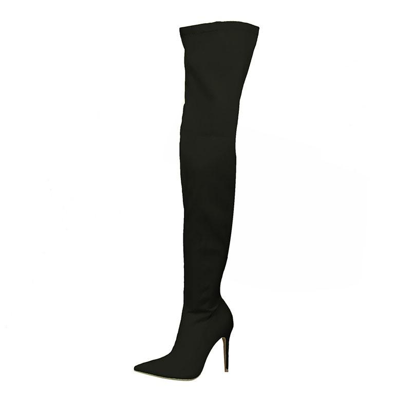 Ericdress Side Zipper Pointed Toe Stiletto Heel Women's Thigh High Boots