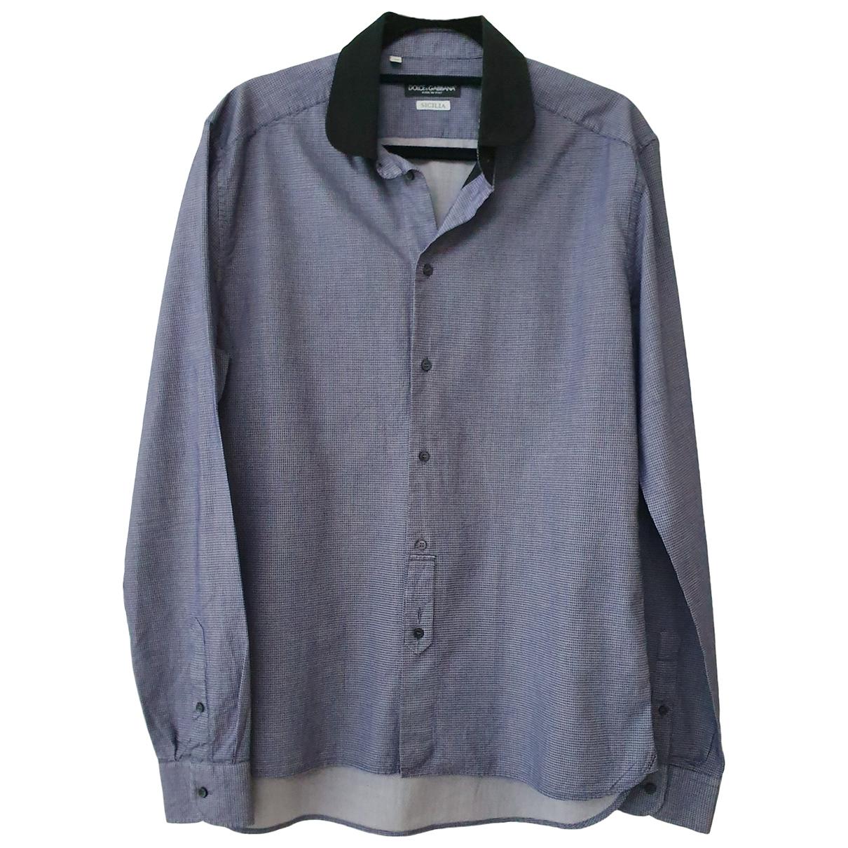 Dolce & Gabbana \N Navy Cotton Shirts for Men 16.5 UK - US (tour de cou / collar)