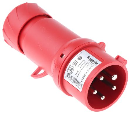 Merlin Gerin , PratiKa IP44 Red Cable Mount 3P+N+E Industrial Power Plug, Rated At 16.0A, 415.0 V