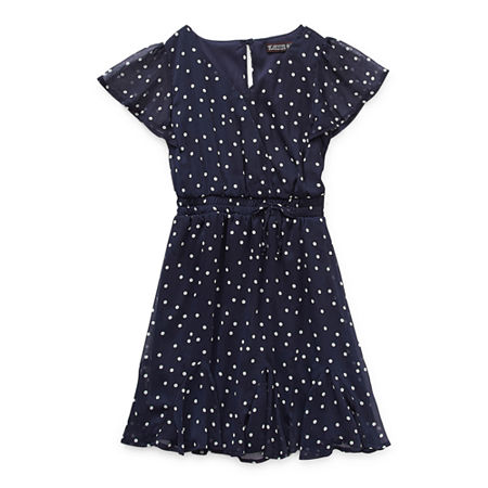 Trixxi Girl Godet Dress Little & Big Girls Short Sleeve Dots A-Line Dress, 12 , Blue