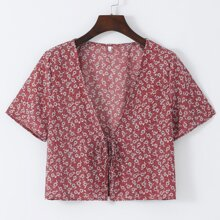 Knot Front Ditsy Floral Top