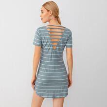 V-neck Laddering Strap Back Striped Tee Dress