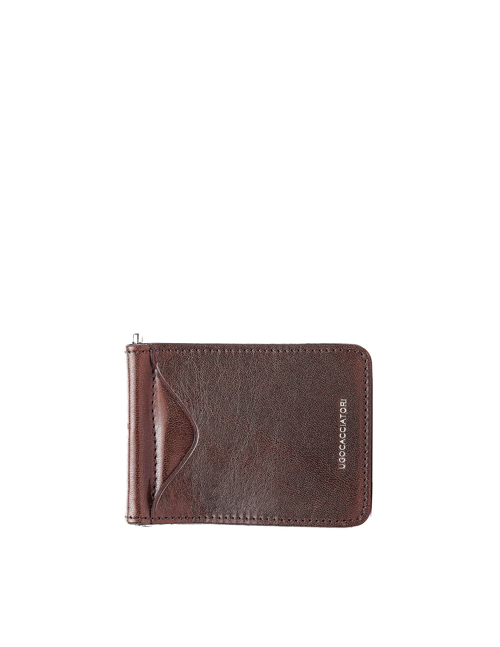 Ugo Cacciatori Brown Leather Clip Card Holder