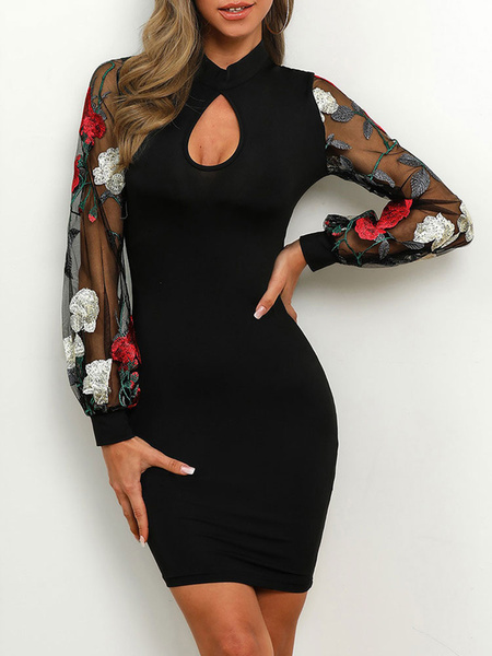 Milanoo Bodycon Dresses Warp Dress Black Flower Sexy Long Sleeves Pencil Dress