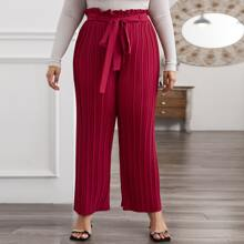 Plus Paperbag Waist Belted Pleated Pants
