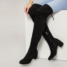 Almond Toe Low Chunky Heel Over The Knee Boots