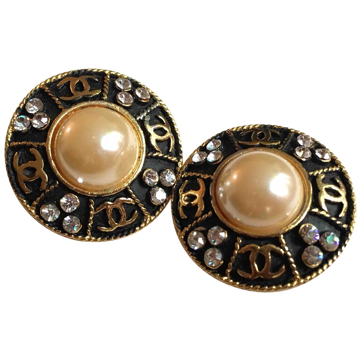 Chanel - Boucles doreilles CC pour femme en metal - dore / noir
