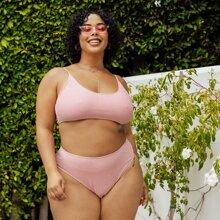 Bikini Badeanzug mit Glitzer und hoher Taille