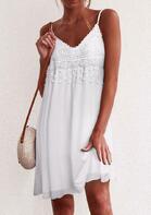 Lace Splicing Tassel Spaghetti Strap Mini Dress - White