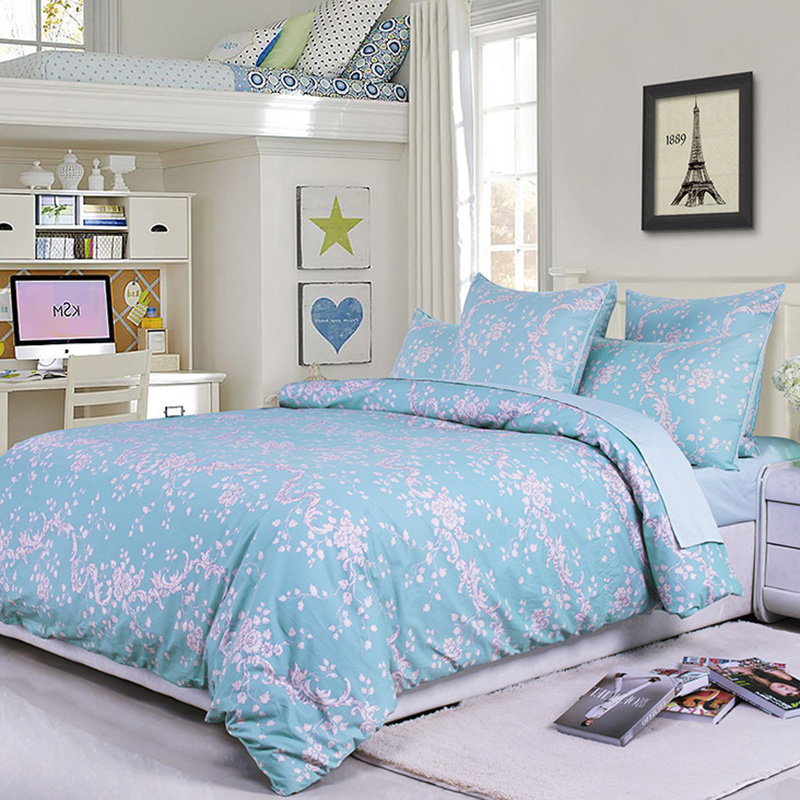 Floral Duvet Cover Set Four-Piece Set European Reactive Printing Polyester Bedding Sets Fitted Sheet