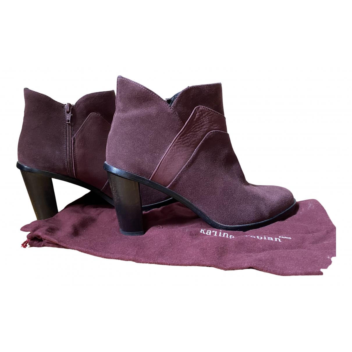 Karine Arabian \N Stiefeletten in  Bordeauxrot Leder