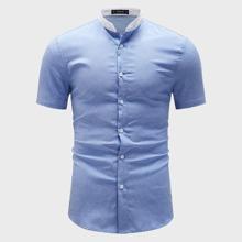 Maenner Kontrast Kragen Hemd
