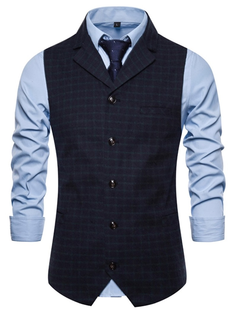 Ericdress Plaid Print Notched Lapel Fashion Mens Single-Breasted Waistcoat