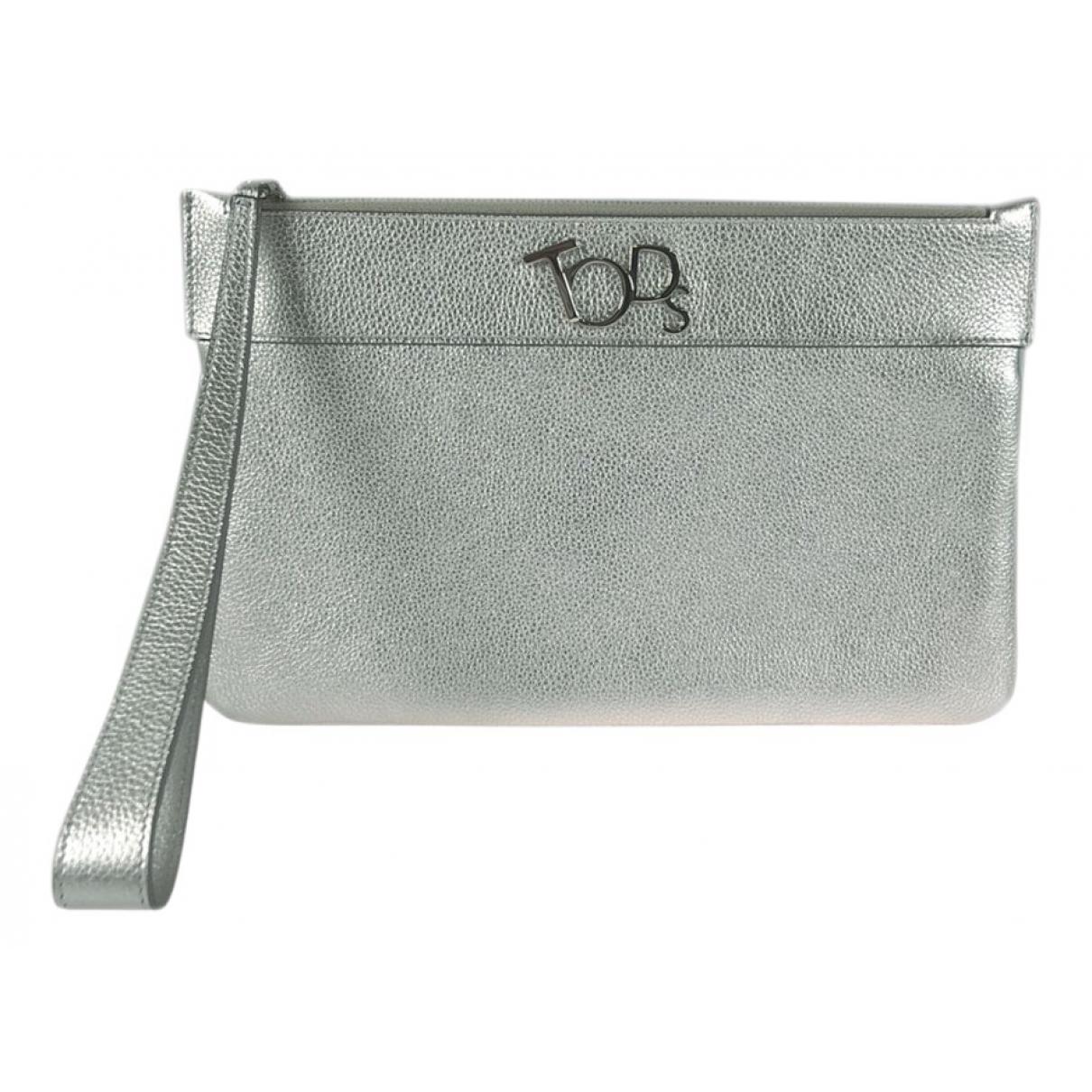 Tods \N Clutch in  Silber Leder