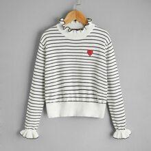 Jersey de rayas con bordado de corazon