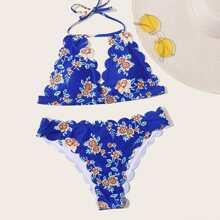 Bañador bikini halter ribete en abanico floral