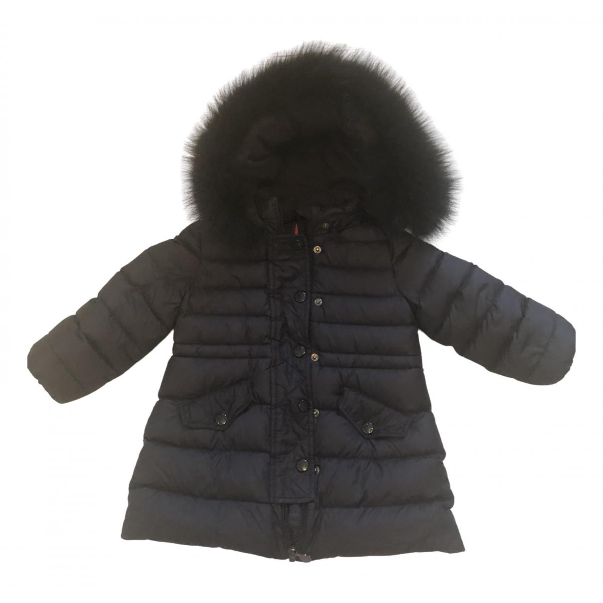 Moncler Fur Hood Jacke, Maentel in  Blau Synthetik