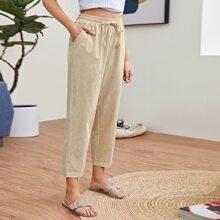 Elastic Waist Slant Pocket Pants