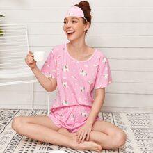 Cartoon Graphic Eye Cover Pajama Set