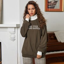 Contrast Turtle Neck and Cuff Letter Graphic Pullover