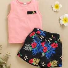 Toddler Girls Floral And Leaf Print Tank & Short