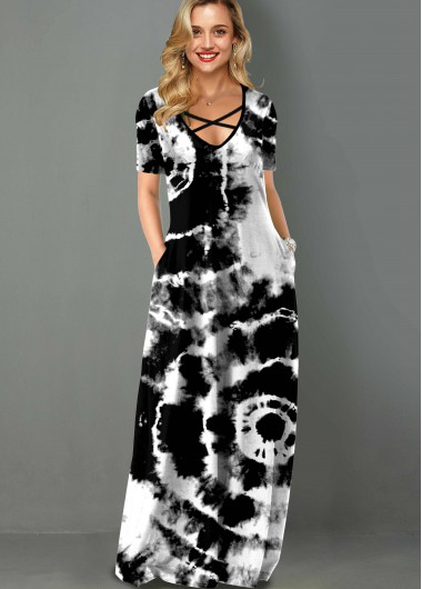 Black Dresses Side Pocket Tie Dye Print Cross Strap Maxi Dress - XL