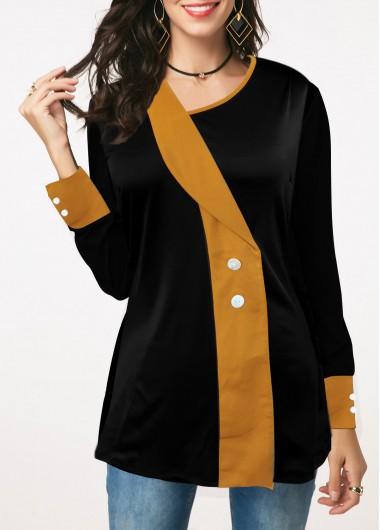 Women'S Black Long Sleeve Fall T Shirt Asymmetric Neckline Button Detail Contrast Panel Tunic Casual Top By Rosewe - XXL
