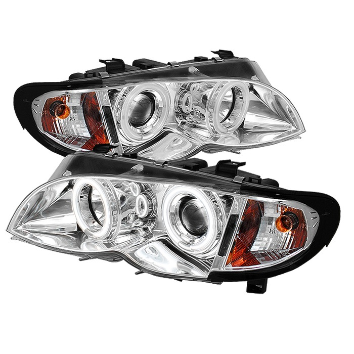 Spyder Auto PRO-YD-BMWE4602-4D-AM-CCFL-C 1PC Chrome CCFL Halo Projector Headlights with High H1 and Low H7 Lights Included BMW E46 318d 4Dr 02-05